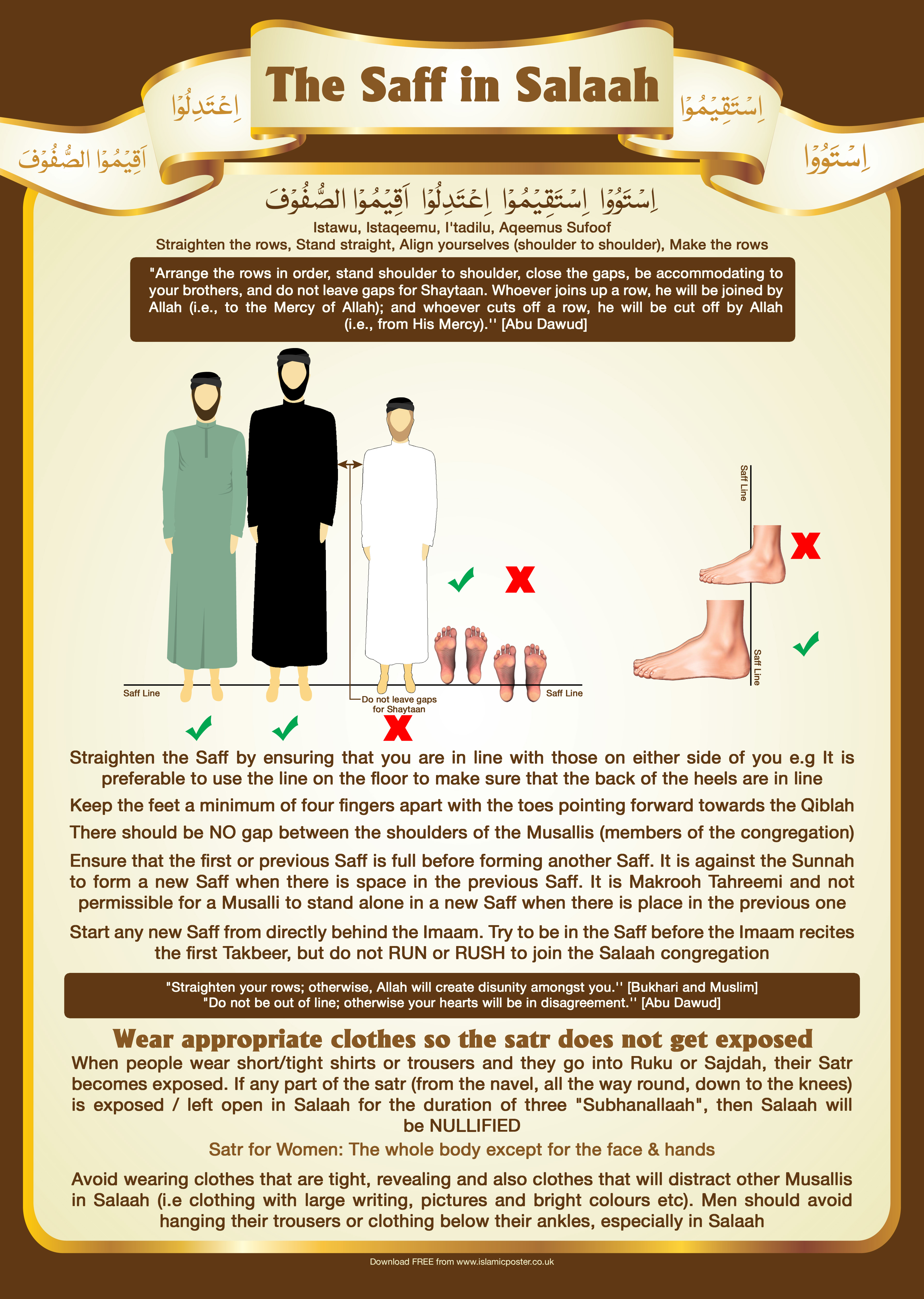 New 5 - The Saff in Salaah - Do not leave Gaps and straighten the rows and do not expose your Satr - A1
